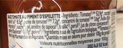 Sauce à la tomate dz Marmande au piment d'Espelette Bio - Ingrédients - fr