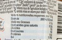 Sauce à la tomate dz Marmande au piment d'Espelette Bio - Informations nutritionnelles - fr