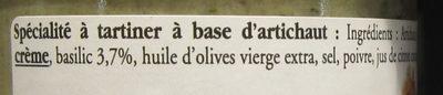 Délice d'Artichaut au Basilic à Tartiner - Ingrédients
