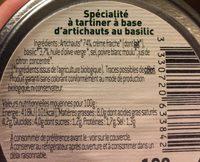 Specialite a tartiner a base d'artichauts au basilic - Ingredients - fr
