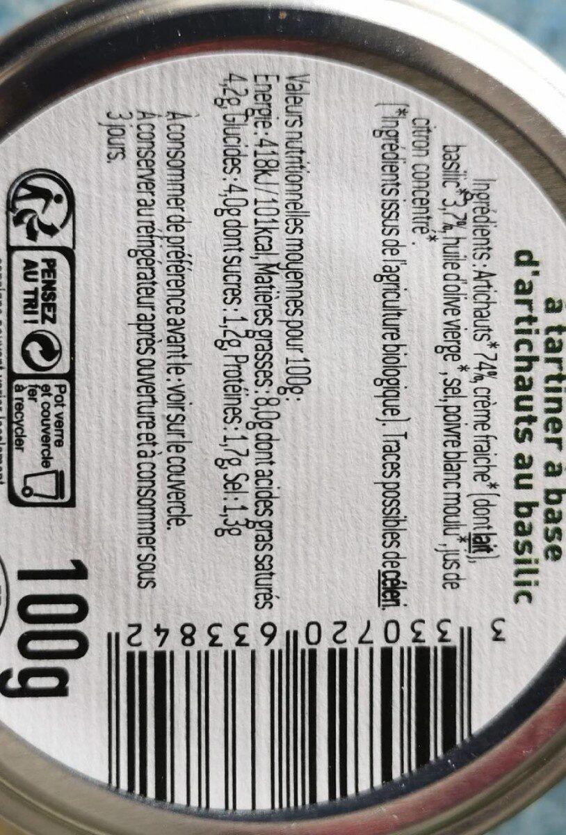 Specialite a tartiner a base d'artichauts au basilic - Nutrition facts - fr