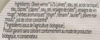 Olives vertes - Ingredients