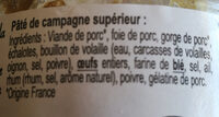 Pâté de Campagne - Ingredienti - fr