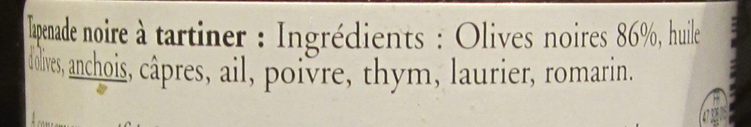Tapenade Noire à Tartiner - Ingrédients