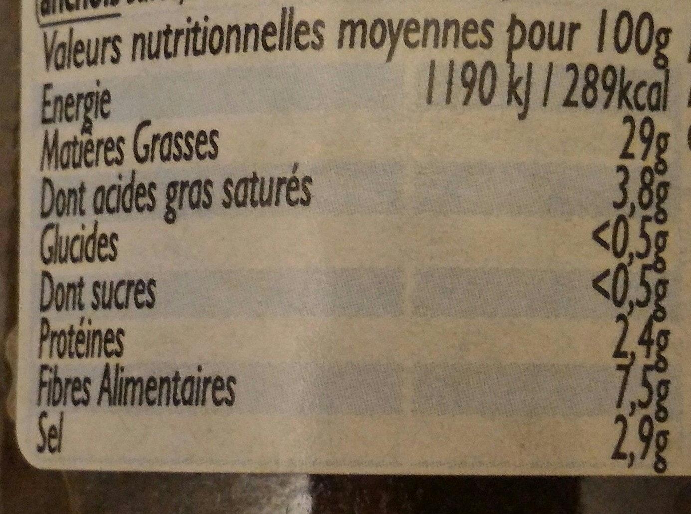 Tapenade Noire à Tartiner - Informations nutritionnelles