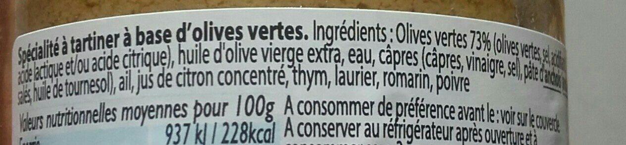 Délice d'Olives Vertes à tartiner ! - Ingrédients - fr