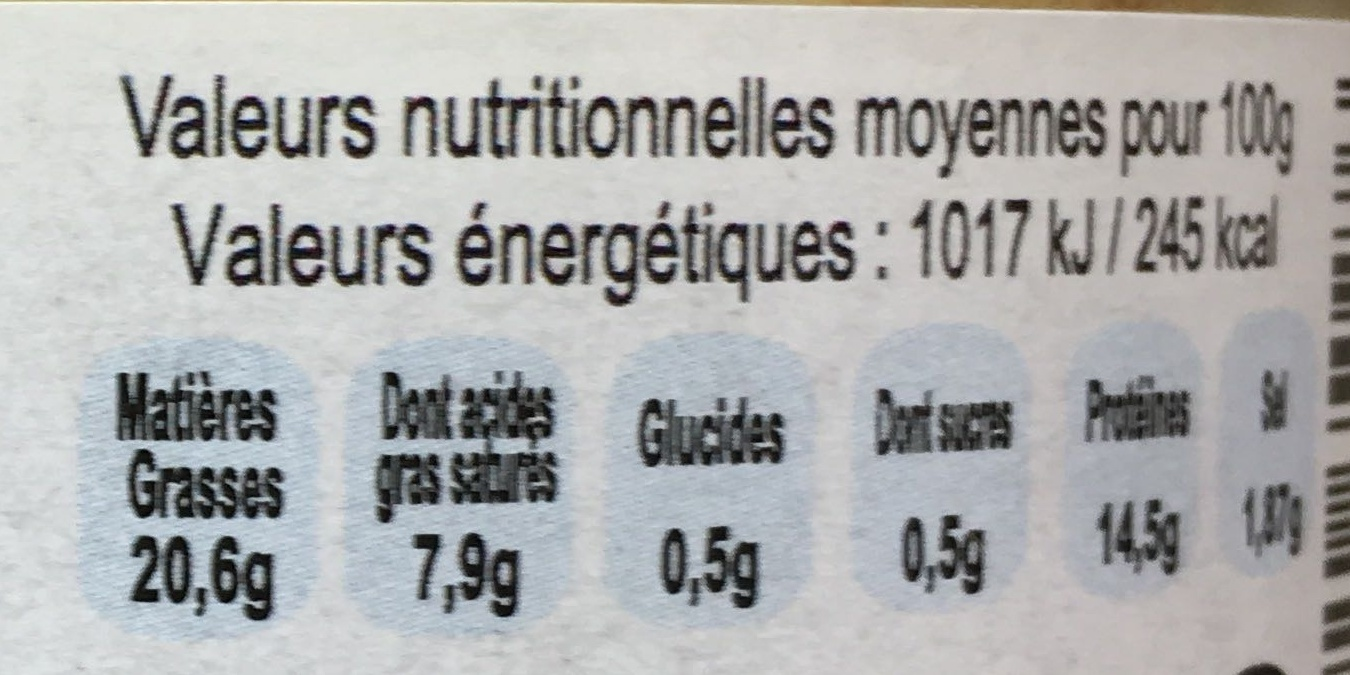 Pâté Ch'ti au maroilles - Informations nutritionnelles - fr