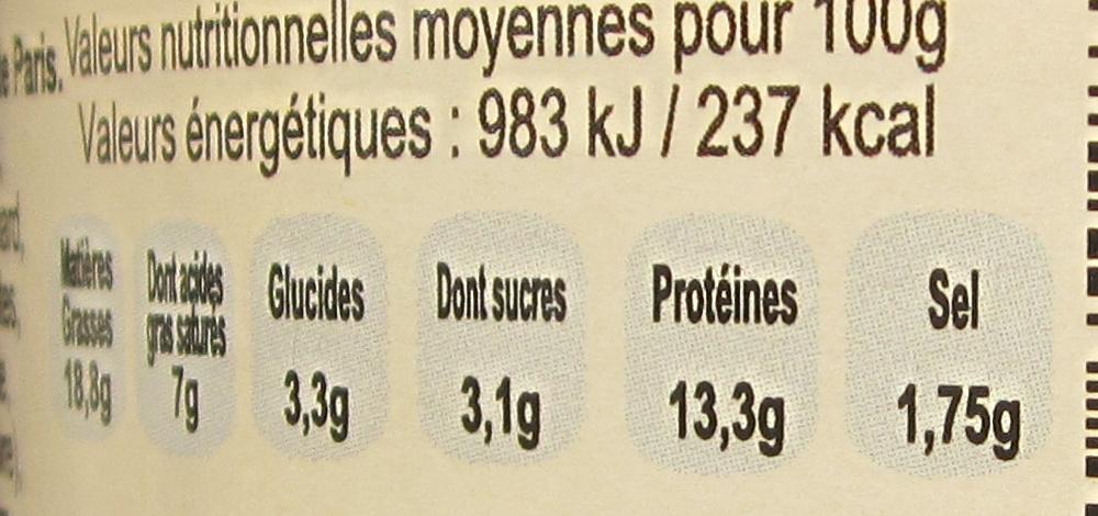 Pâté Parisien au Jambon et Champignons de Paris - Informations nutritionnelles - fr