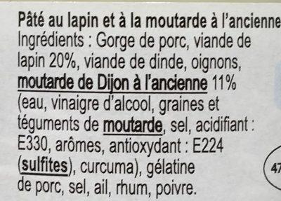 Pâté de Bourgogne au Lapin et à la Moutarde Ancienne de Dijon - Ingrédients - fr