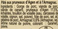 Pâté Gascon à l'Armagnac et aux Pruneaux d'Agen - Ingrédients - fr