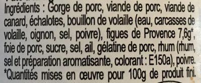 Pâté Provençal à la Figue - Ingrédients - fr
