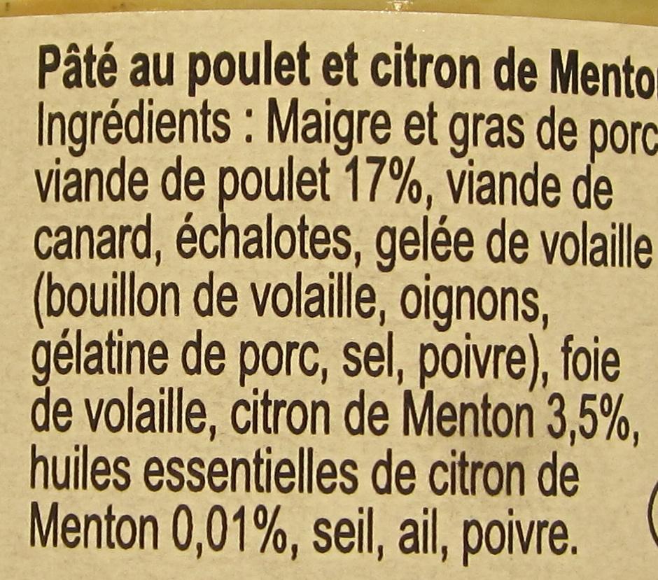 Pâté Méditerranéen au Poulet et Citron de Menton - Ingrédients - fr