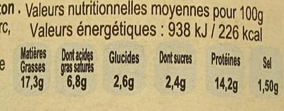 Pâté Méditerranéen au Poulet et Citron de Menton - Informations nutritionnelles - fr