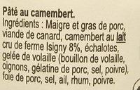 Pâté Normand au Camembert d'Isigny - Ingrédients