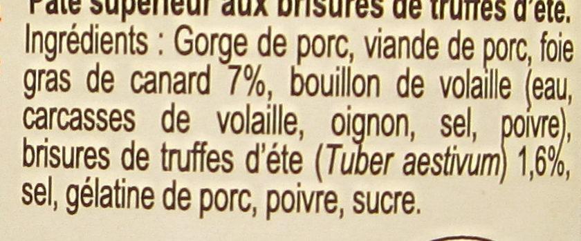 Pâté Sarladais à la Truffe d'Été - Ingrédients - fr