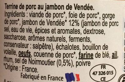 Paté au jambon de vendée et au sel de noirmoutier - Ingrédients - fr