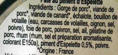 Paté basque au piment d'Espelette - Ingrédients - fr