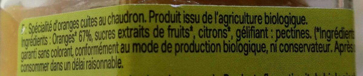 Confiture Orange 55% 300G Cuit / Chaudron Bio - Ingrédients