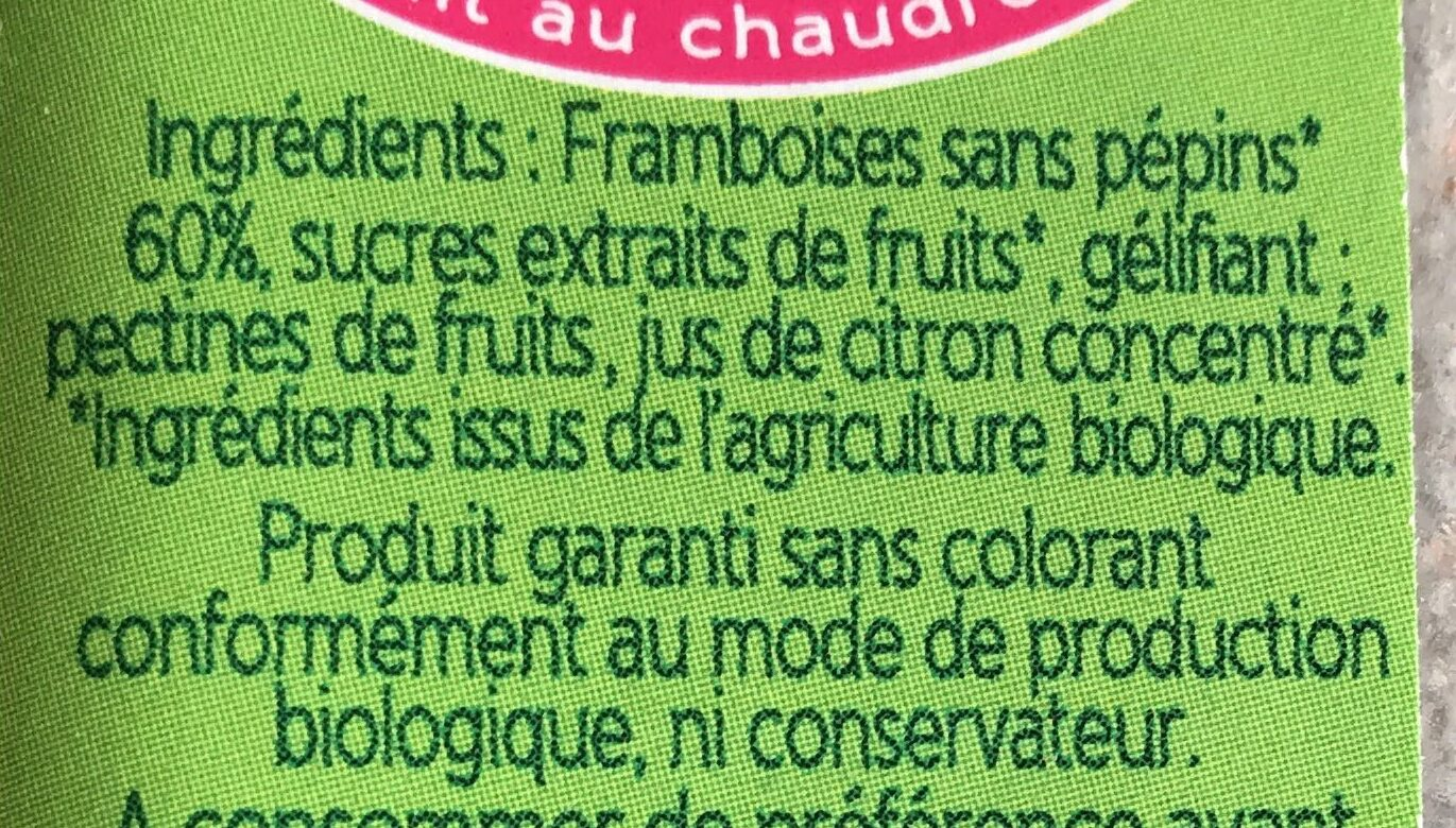 Specialite De Framboises - Ingrédients - fr