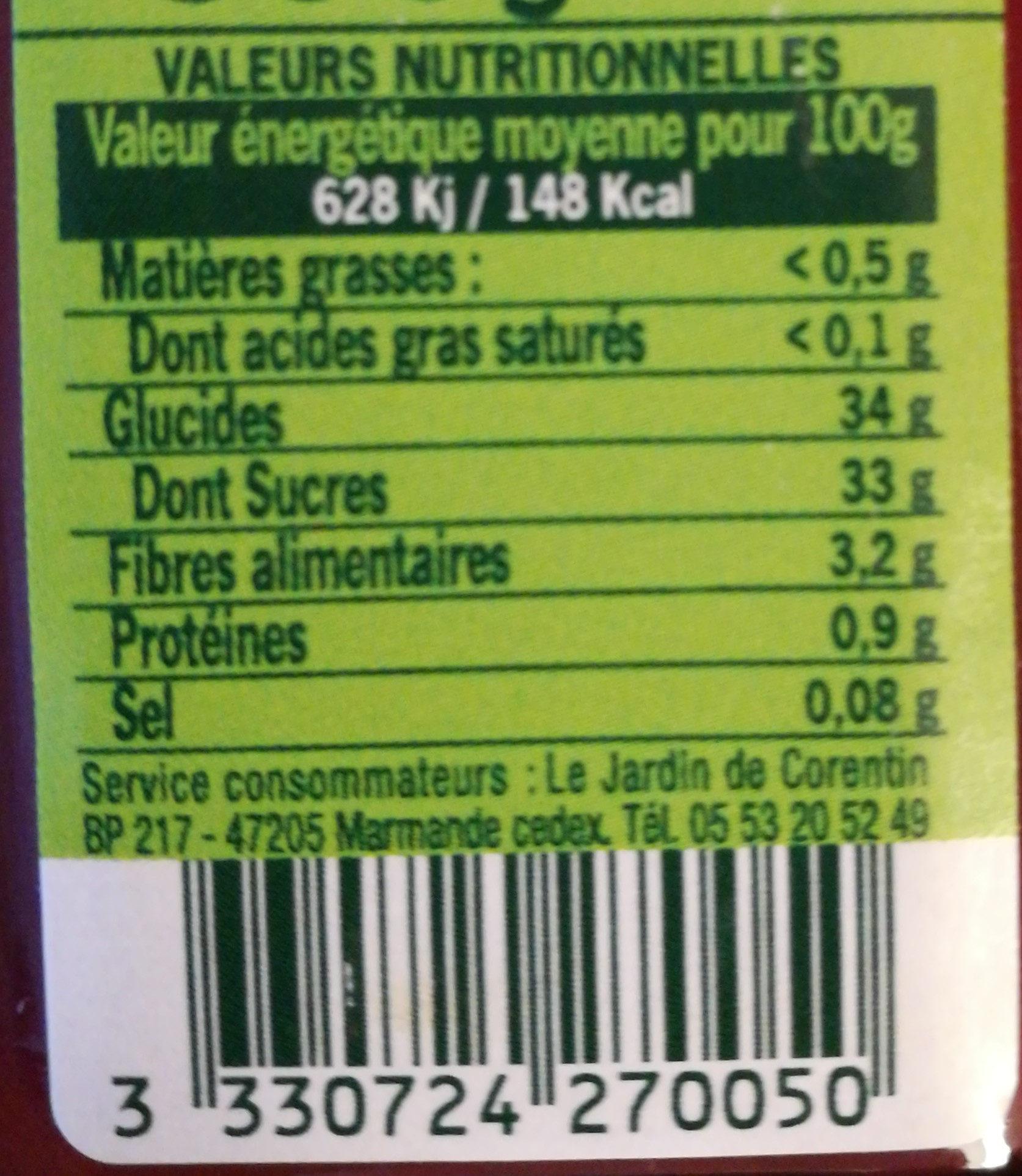 Specialite De Framboises - Informations nutritionnelles - fr