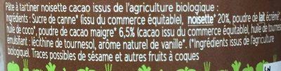 Noisette cacao - Ingrédients - fr
