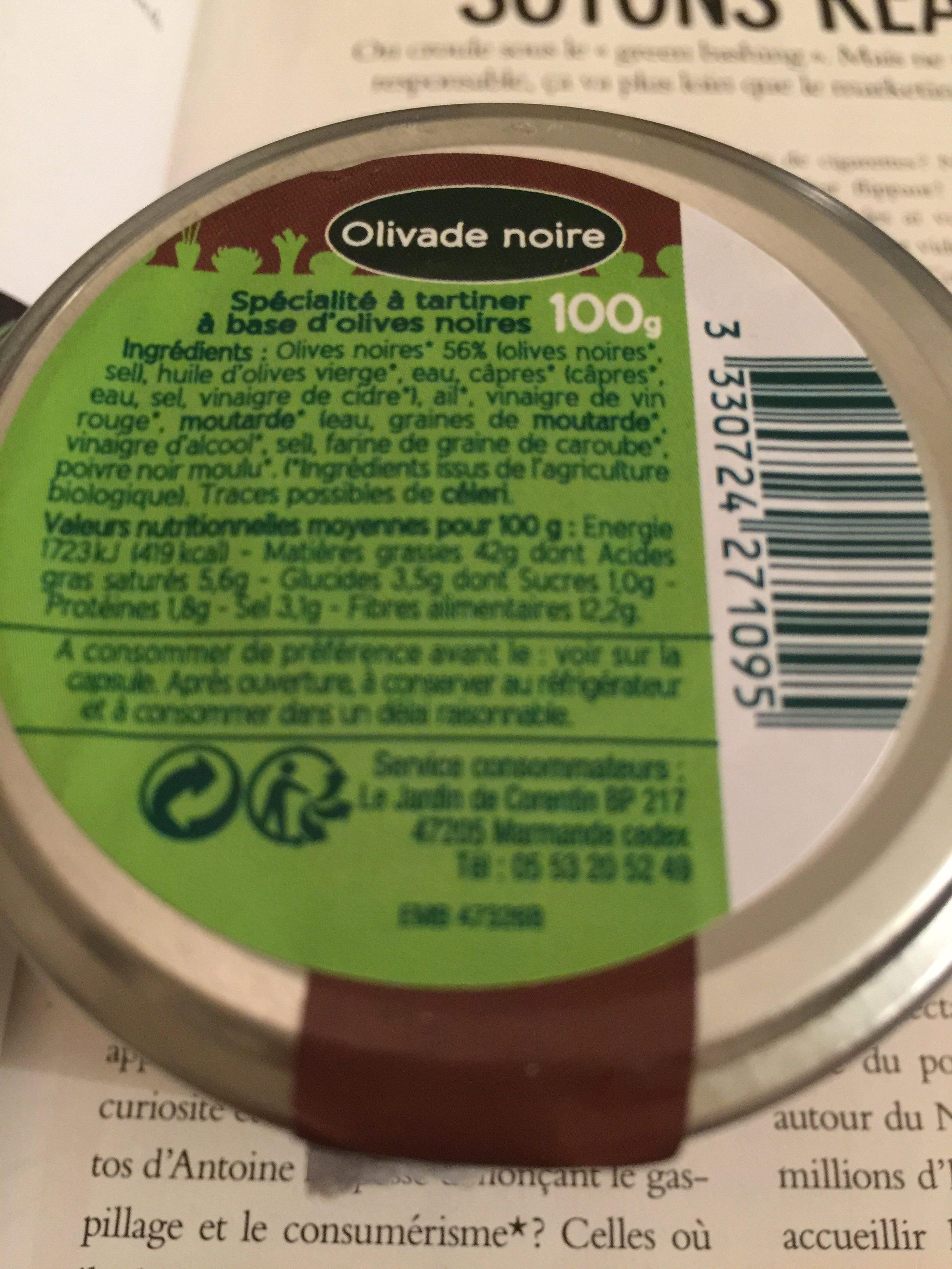 Olivade noire - Ingredients