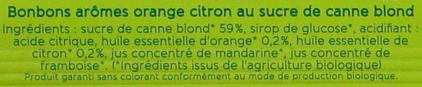 Bonbons arômes Orange Citron - Ingredients