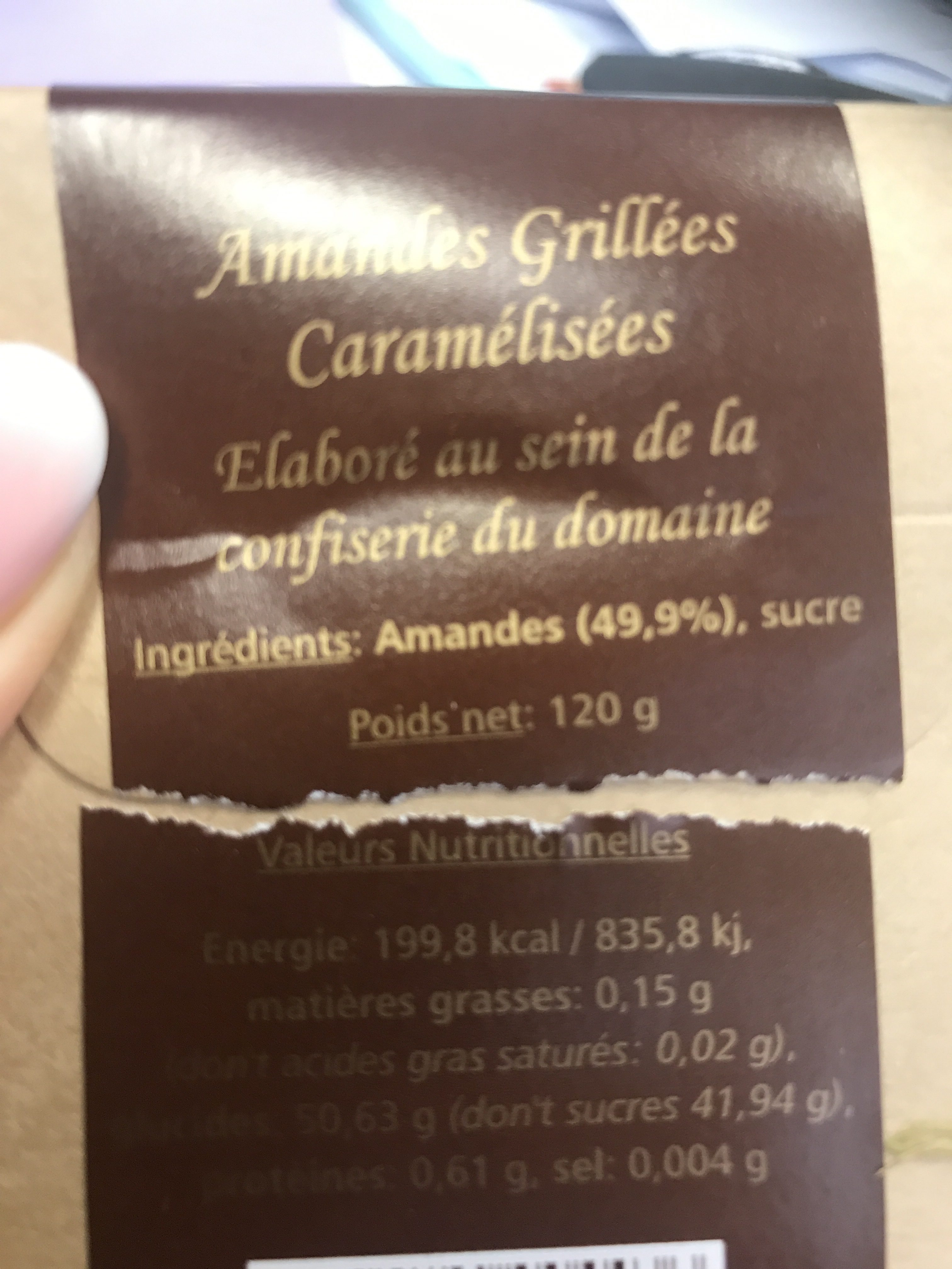 Amandes grillées caramélisées - Ingrédients