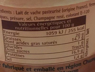 L'Affiné au Champagne Rosé - Informations nutritionnelles - fr