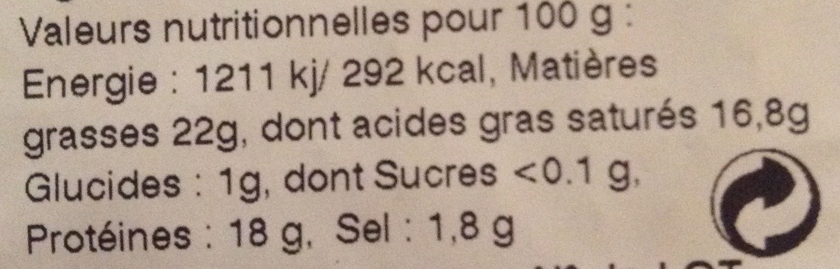 Chaource - Informations nutritionnelles