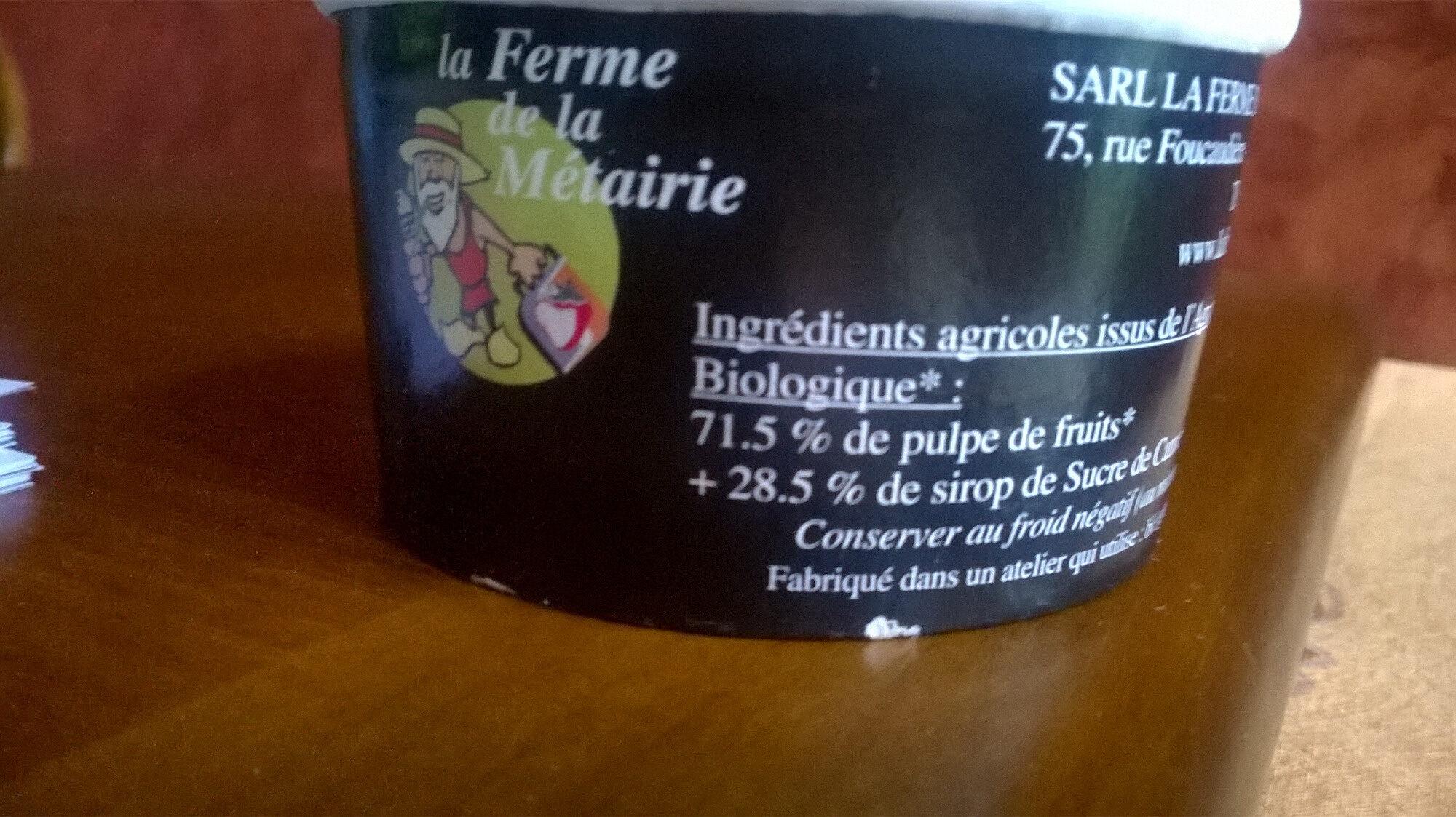 SORBET PLEIN FRUIT - Ingrédients