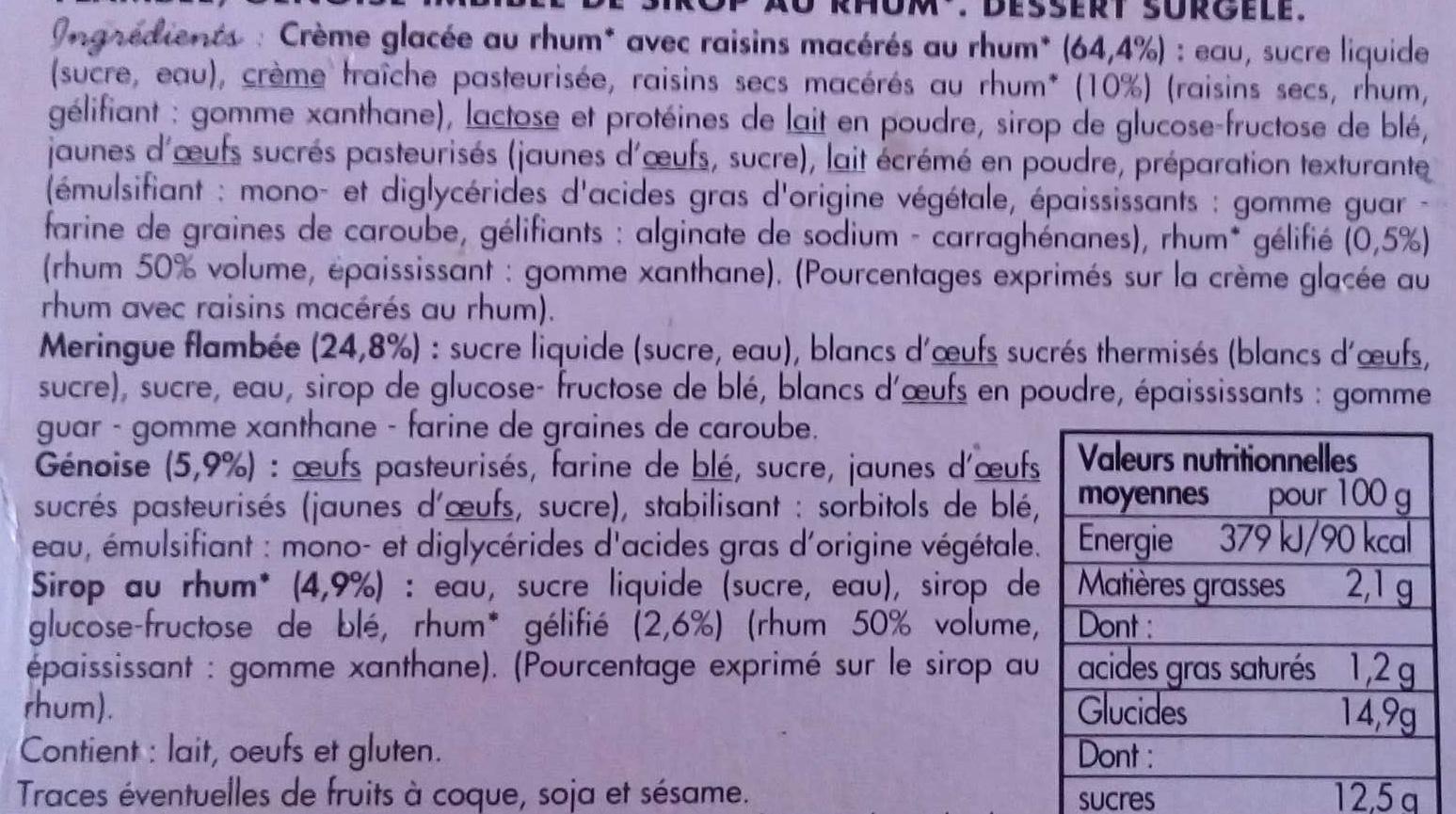 Omelette norvégienne au rhum - Ingrédients - fr