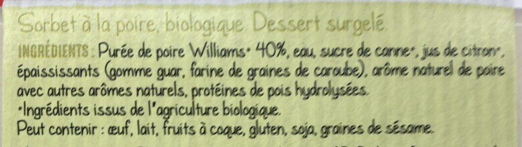 Sorbet à la poire williams - Ingrediënten