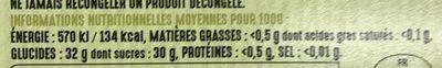 Sorbet à la poire williams - Voedigswaarden