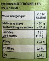 Pur jus de pomme d'Alsace - Informations nutritionnelles - fr