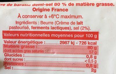 Beurre de baratte - Ingredients - fr