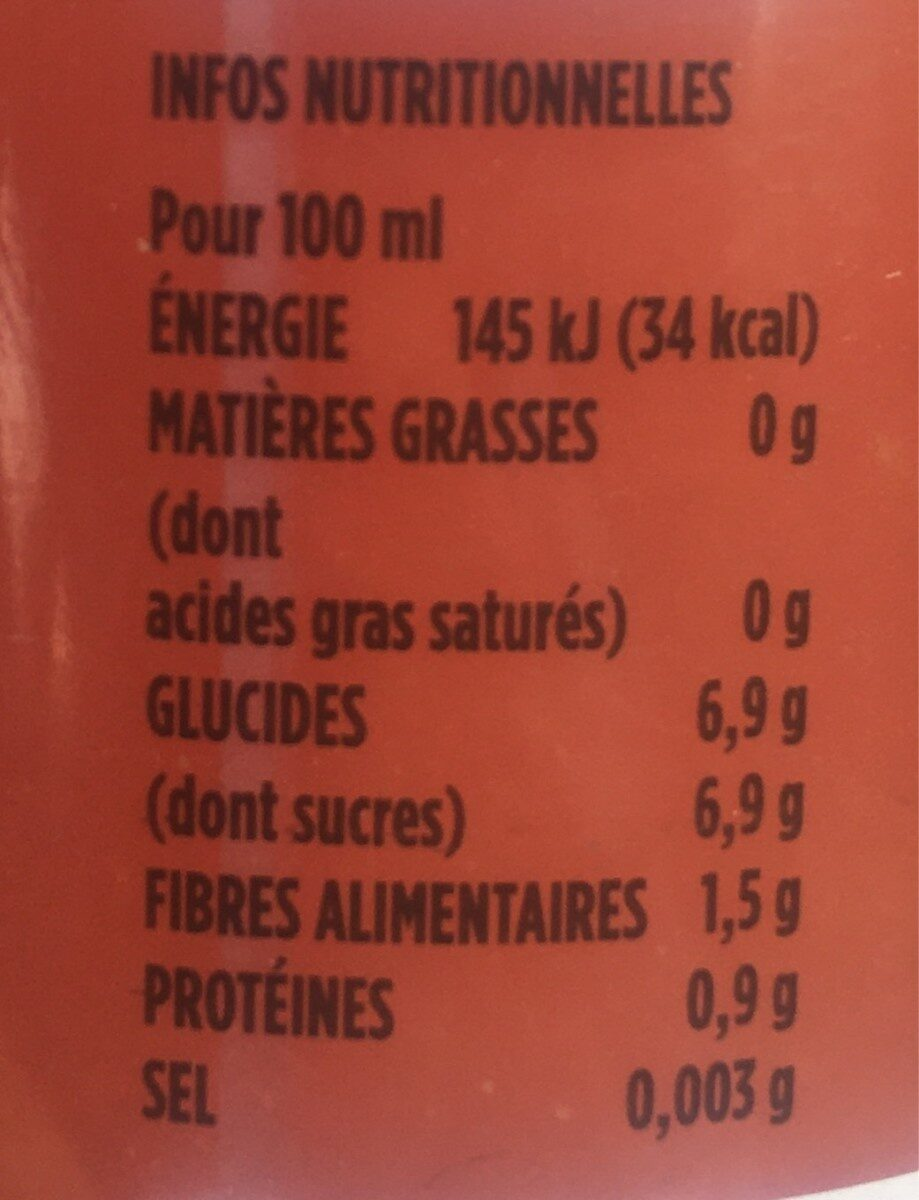 Jus Pamplemousse - Nutrition facts - fr