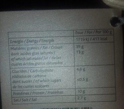 Foie gras d oie - Voedingswaarden - fr