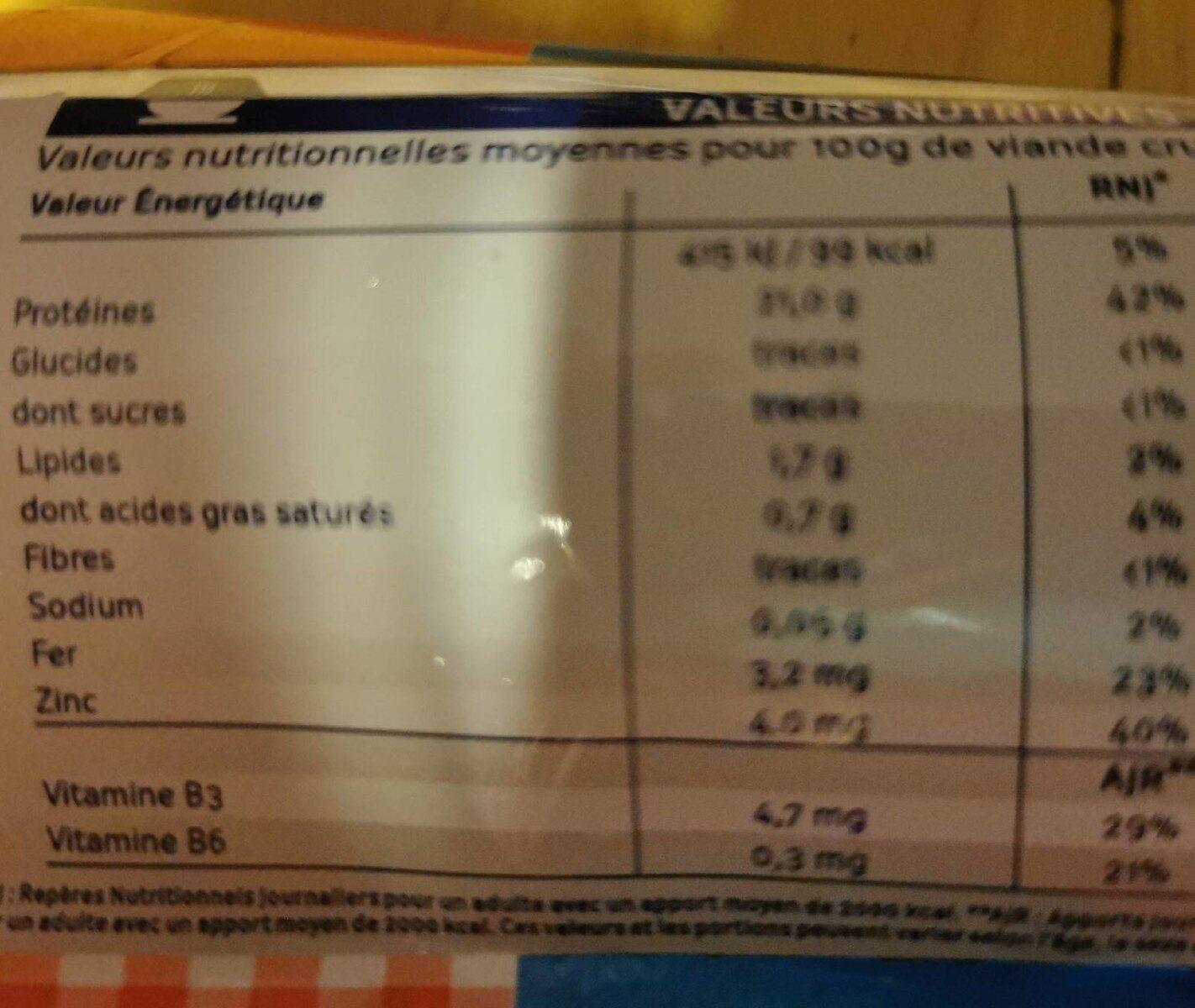 Haché de cheval frais - Informations nutritionnelles - fr