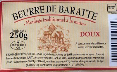 Beurre de Baratte - Informations nutritionnelles - fr