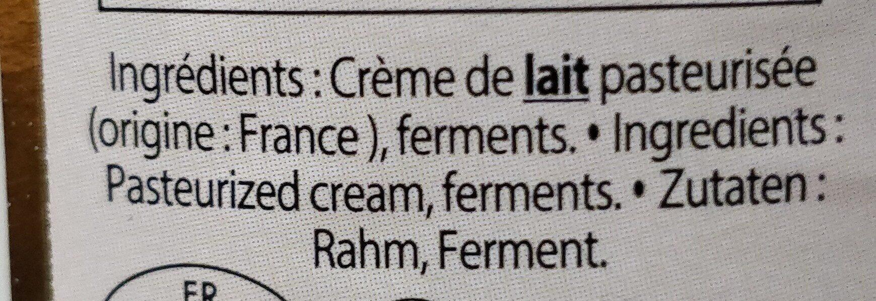 Creme fraiche de Normandie Epaisse 40% - Ingredients - en