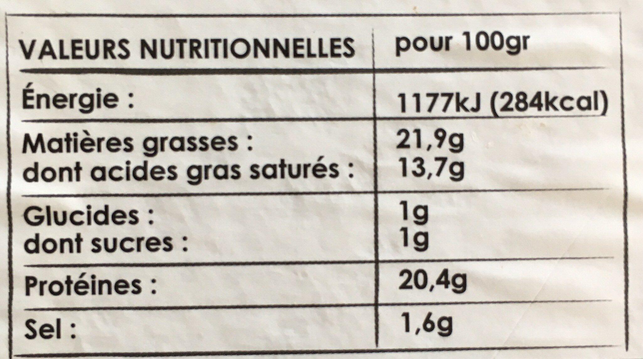 Camembert de Normandie AOP - Voedingswaarden - fr