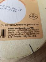 Camembert de Normandie AOP (22% MG) - 250 g - Réo Noir - Nutrition facts - fr