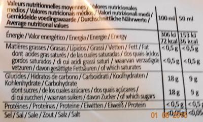 Yéti, 24 parfums fous - Informations nutritionnelles