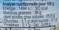 Crème fraîche de Normandie - Nutrition facts