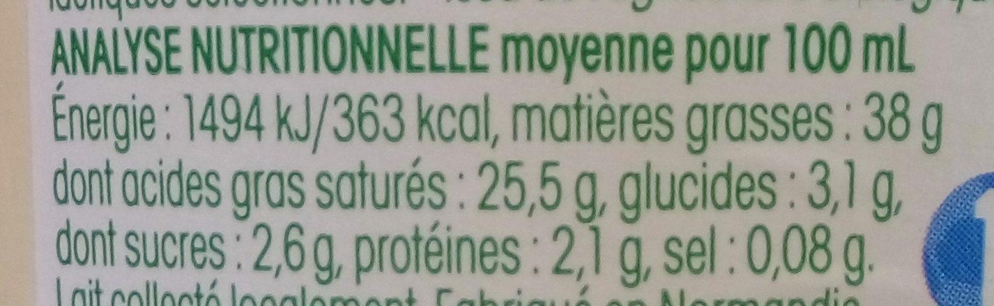 Crème fraîche de Normandie - Informations nutritionnelles - fr