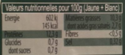 Œufs Fermiers Label Rouge - Nutrition facts - fr