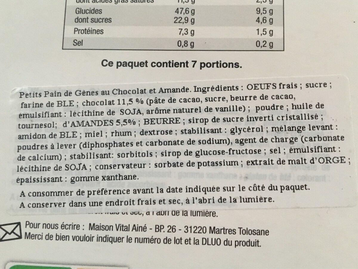 Petits moelleux au chocolat - Ingrediënten - fr