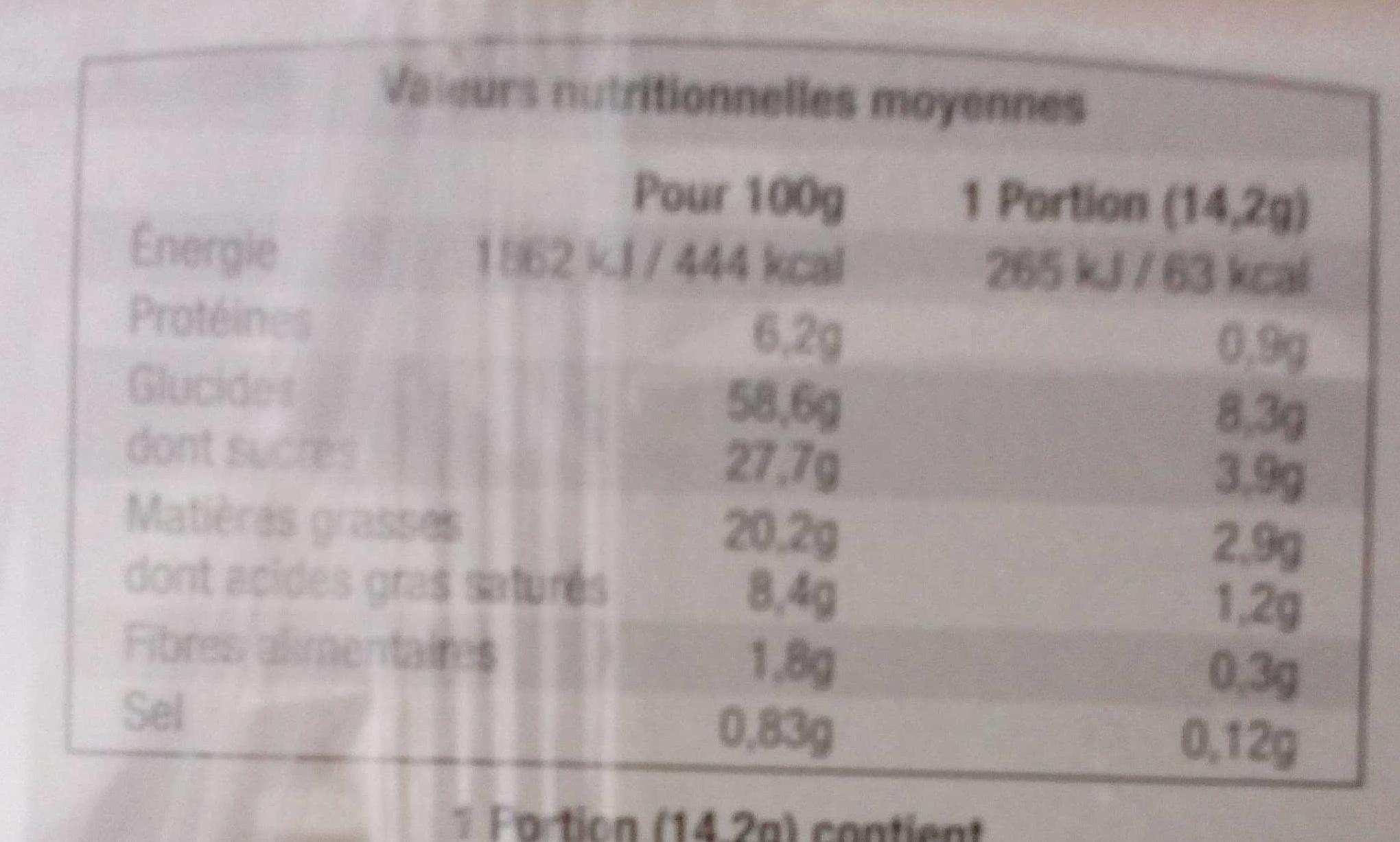 Madeleines aux pépites de chocolat - Informations nutritionnelles
