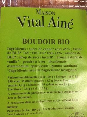 Boudoir bio - Ingredients